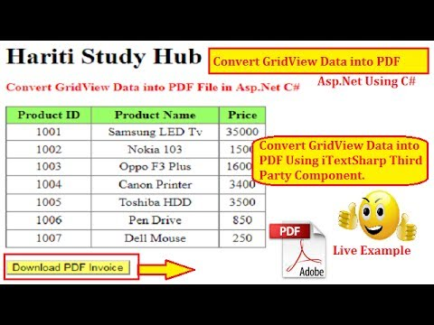 Convert GridView Data into PDF File with iTextSharp in Asp.Net C# | Hindi | Online Learning Classes