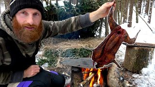 PRIMITIVE TECHNOLOGY | Singed Cooked ON A ROCK (burning the hair off)! | ASMR (Silent)