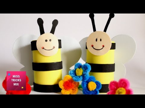 DIY : How to make a bee using toilet paper roll / Spring crafts