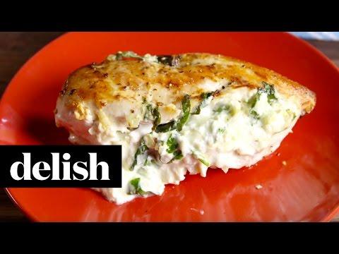 Spinach Artichoke Dip Stuffed Chicken | Delish