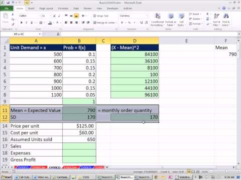 Excel 2010 Statistics 48: Accounting & Finance Examples of Expected Value & Standard Deviation