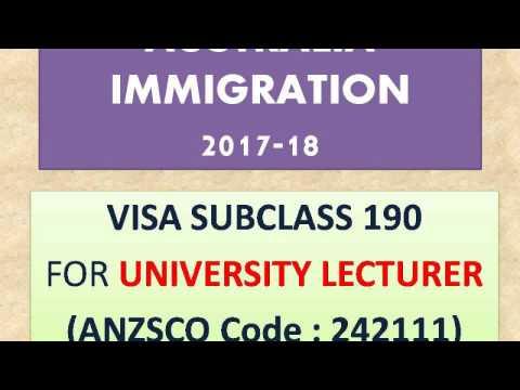 AUSTRALIA  UNIVERSITY LECTURER SUBCLASS VISA 190 PR GUIDE