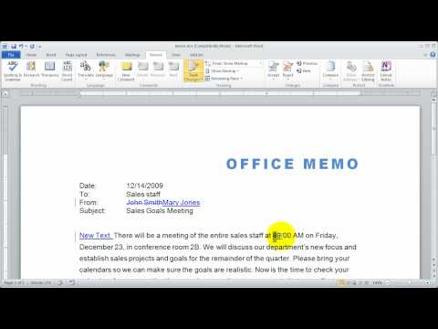 Part 1 - Tracking Changes in Word 2010 - Document Reviewing Tools