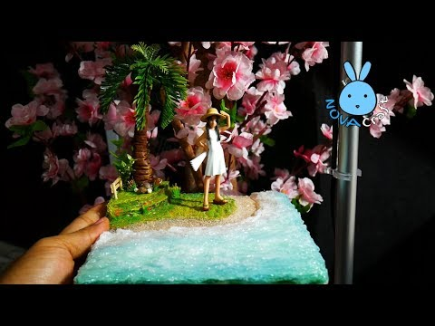 Hot Glue Sea Beach Little girl under Coconut Tree Tutorial | DIY Cardboard & Hot glue Diorama