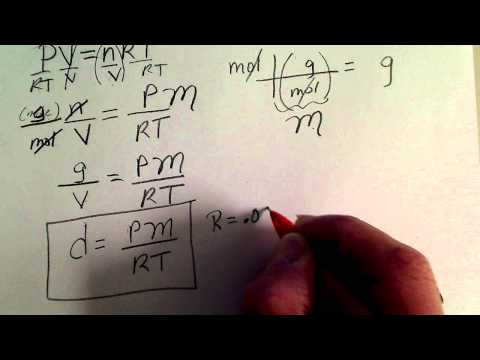 Density of a gas calculation using the Ideal Gas Law (& Molar mass)