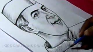 How To Draw Nehru Jawaharlal Nehru Drawing Drawing For Kids