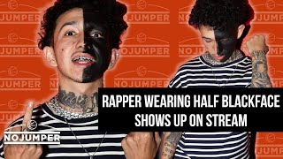 A Rapper Shows Up with Half his Face Painted Black