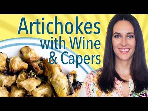 Pot-Roasted Artichokes with White Wine and Capers - How to Cook Artichoke Hearts - Vegan Recipe Demo