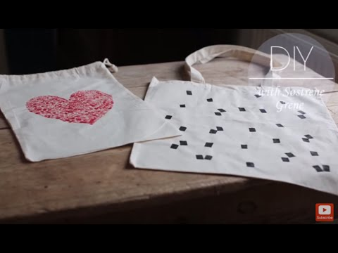 DIY: Canvas pouch with heart print by Søstrene Grene