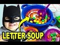 Learn spell words w/ BATMAN playing LETTER SOUP Game. ABC game for kids. Let's Play Kids.
