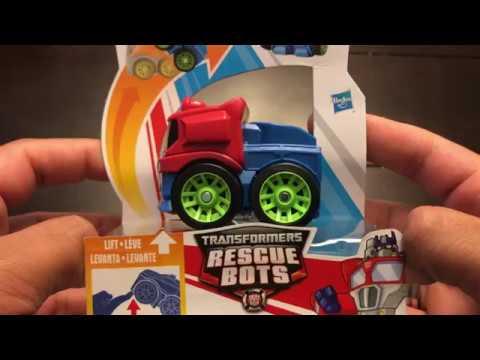 Playskool Heroes Transformers Rescue Bots Flip Racers Optimus Prime Unboxing