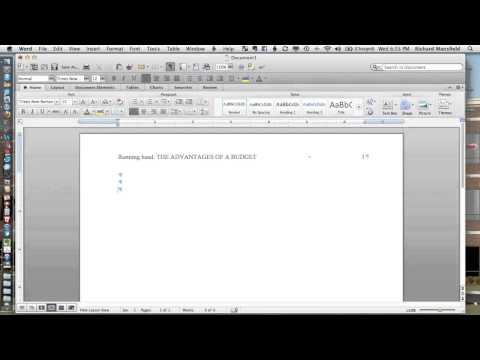 Setting Up APA 6e Headers in Word 2011 (Mac)