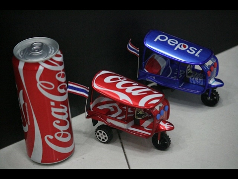 How to make a toy tuk tuk out of coca-cola can.(thailand edition) please read the description