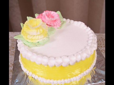 Eggless Pineapple Cake Tutorial Easy Fresh Cream Cake Icing Recipe Technique