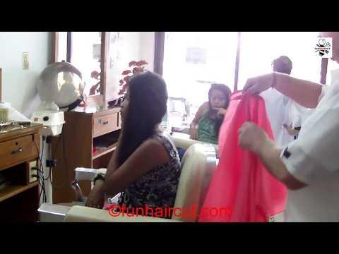 Barbershop girl long to short haircut