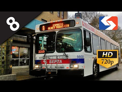 SEPTA Ride: 2002 New Flyer D40LF #5600 on route 8 Express to Frankford Transportation Center
