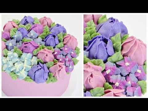 Tulip and Hydrangea Buttercream Cake - CAKE STYLE