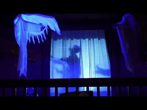 halloween porch 2016 part 2 spooky window video projection