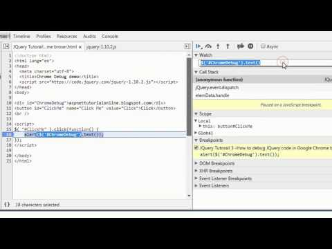 JQuery Tutorial 3 - How to debug JQuery code in Google Chrome Browser