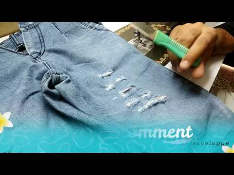 HOW TO HOW TO: DISTRESSED DENIM JEANS AND LEAVE THE THREAD  DIY IN HINDI !!!!!