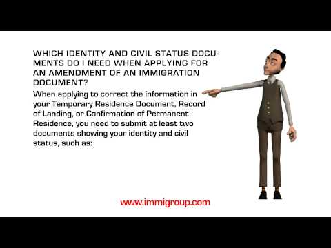 Which identity and civil status documents do I need when applying for an amendment?