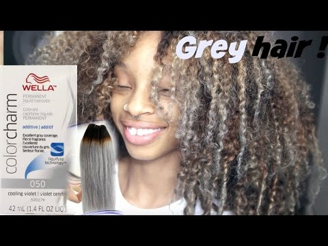 How To dye curly hair blonde/ash grey !♡