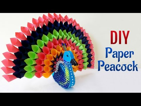 DIY Paper Craft Projects : How to Make Multicolored Paper Peacock | DIY Room Decor