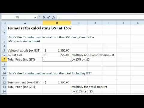 Excel tutorial - Formulas for Calculating GST at 15%