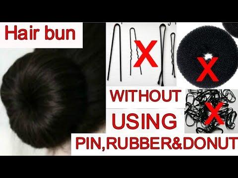 Hair Bun WITHOUT using pin, rubber & donut / जुड़ा बनाये बिना पिन और रब्बर के || Namrata singh