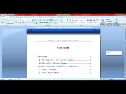 How to Create a Contents Page in Word 2007 (Bangla)