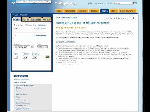 Military Discount at Amtrak.com