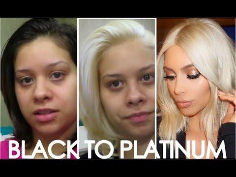 HOW TO Get Kim Kardashians Blonde hair! Easy steps from black to platinum/Blonde hair!!!