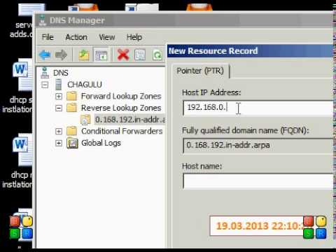 how to create a ptr reco  in windows server 2008
