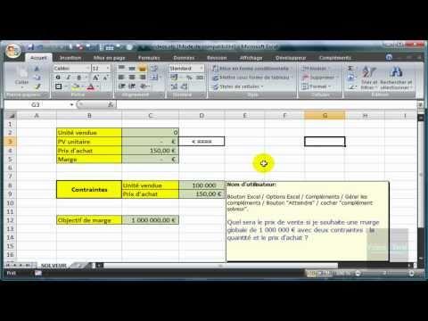 Excel 2007 : Utiliser la fonctionnalité SOLVEUR