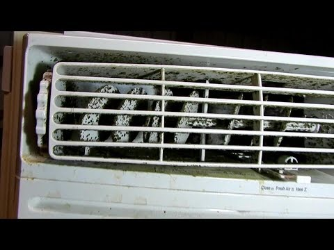 Cleaning mold out of a window AC unit.