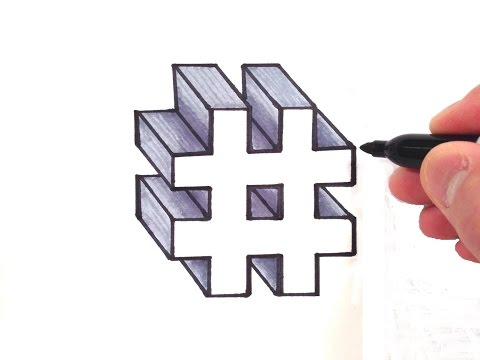 How to Draw a Number Hashtag Sign in 3D