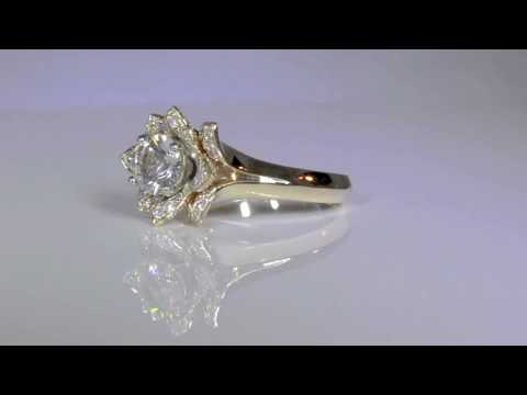 Unique Yellow Gold Lotus Flower Engagement Ring By BloomingBeautyRing.com