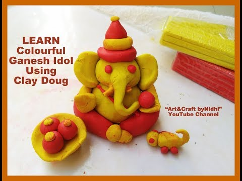 How To Make Colourful Ganesh Idol Using Clay Dough- Step by Step Video