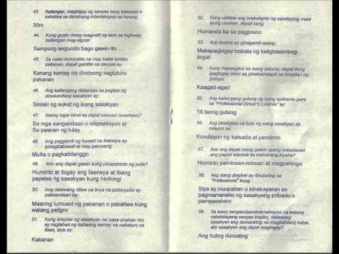 Tagalog Reviewer 4 of 7 Driving Exam