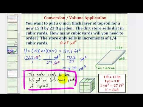 Ex: Volume Conversion to Determine the Number of Cubic Yards of Soil Needed