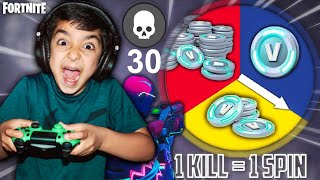1 KILL = 1 SPIN CHALLENGE WITH MY 5 YEAR OLD LITTLE BROTHER! | FORTNITE SPIN THE WHEEL & WIN V-BUCKS