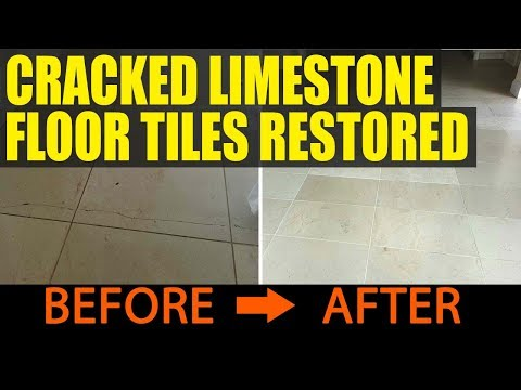 Dirty and Cracked Limestone floor tiles restored in Louth