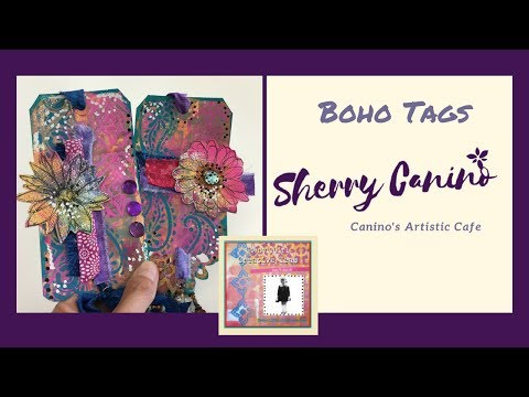 Boho tags StencilGirl Style- Sherry Canino for StenciGirl Creative Team
