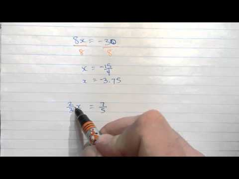 Solving equations with multiplication and fractions
