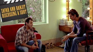 Zafar and Ranjit Rolly discussing a shot   Hrithik Roshan   Sanjay Kapoor   Luck By Chance