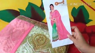b0e34bb052 Unboxing net Embroidered half sari from Flipkart | latest saree design |  New saree unboxing