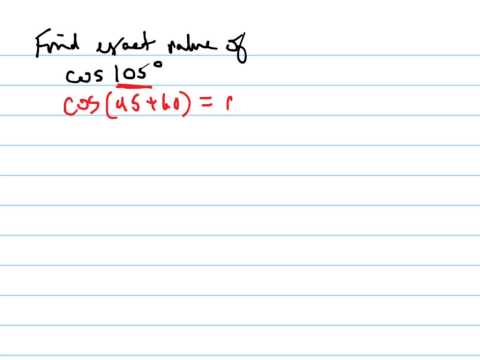 Find the exact value of cos105°