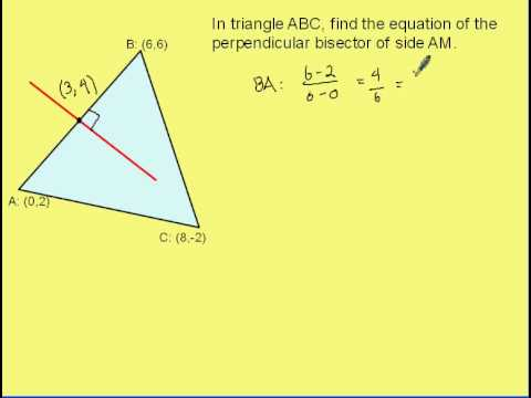 Find the Equation of a Perpendicular Bisector in Triangle