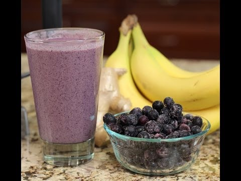 Blueberry Banana Protein Smoothie For A Quick And Healthy Breakfast Or Snack.