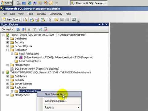How Do I: Setup Snapshot Replication with SQL Server 2008?